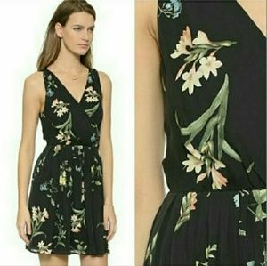 Joie M Dress Black Floral Braydon 100% Silk Wrap